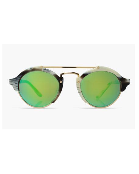 Milan Mirrored Iridescent Sunglasses, Horn/Green