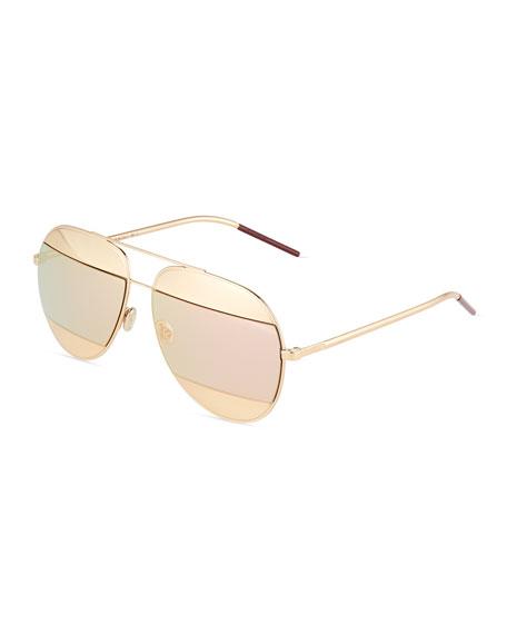 572511b38f Dior DiorSplit Two-Tone Metallic Aviator Sunglasses