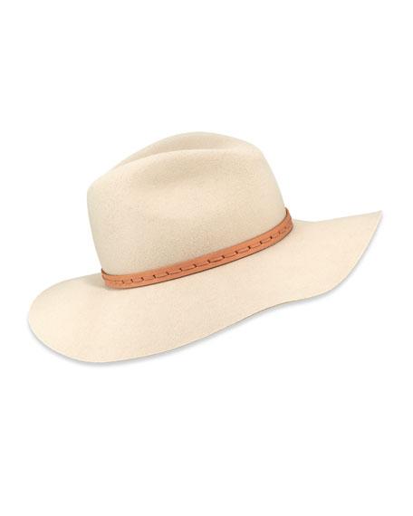 Wool Felt Wide-Brim Fedora Hat, Tan