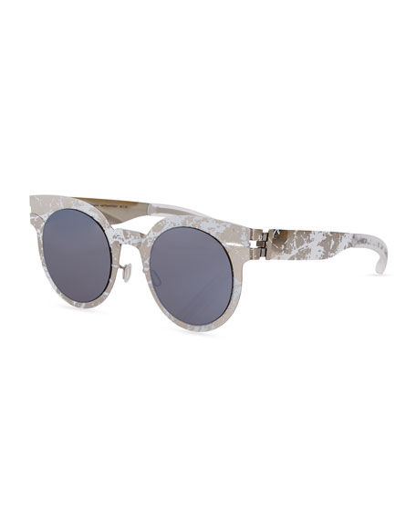 Transfer Rounded Square Sunglasses, White/Brown