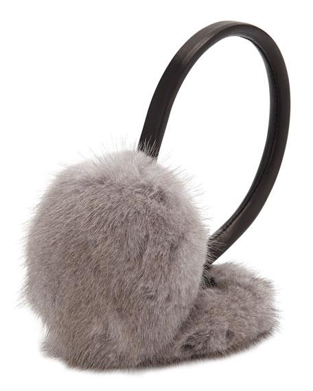 Leather & Mink Fur Earmuffs, Gray/Black
