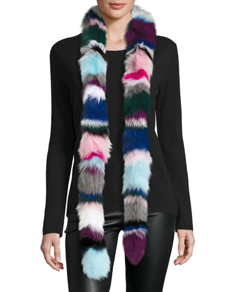 Charlotte Simone Rainbow Twist Fox Fur Scarf, Multicolor