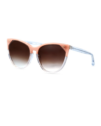 Swappy Streaked Cat-Eye Sunglasses, Pink