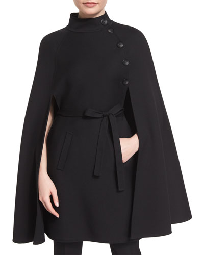 Stand-Collar Belted Cape, Black