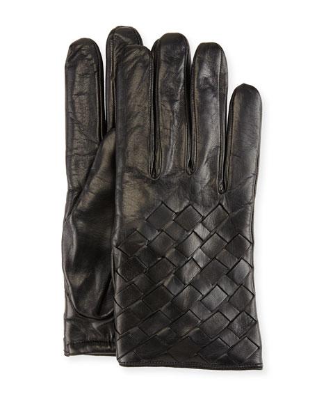 Imoni Leather Basketweave Gloves, Black