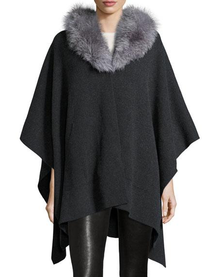 Cashmere Cape w/ Fox Fur Collar
