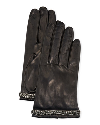 Napa Leather Silk-Lined Gloves w/ Beaded Cuffs