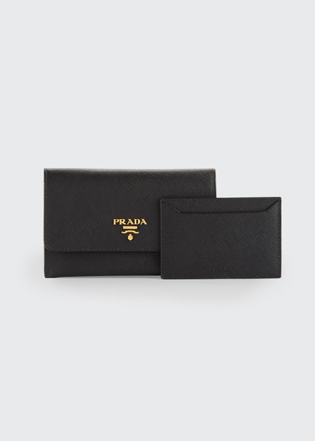Saffiano Wallet/Card Case, Black (Nero)