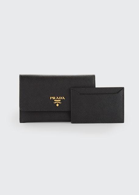 Saffiano Wallet/Card Case, Black (Nero)