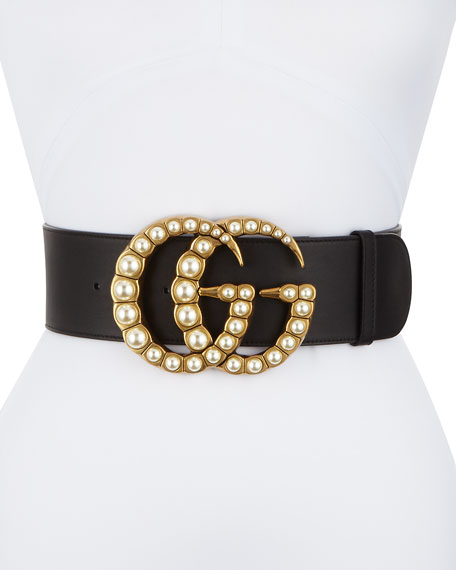 Wide Leather Belt W/ Pearlescent Beads, Black/Cream by Gucci