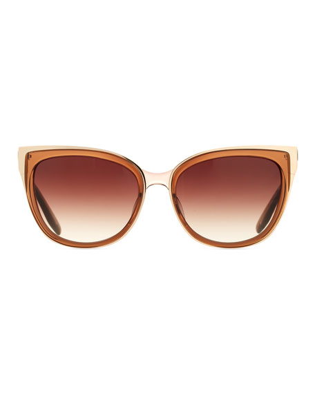 Winette Gradient Cat-Eye Sunglasses, Brown