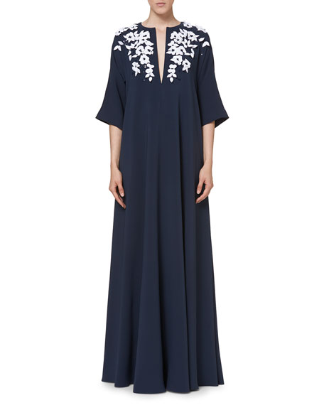 Embroidered Half-Sleeve Caftan Gown, Navy