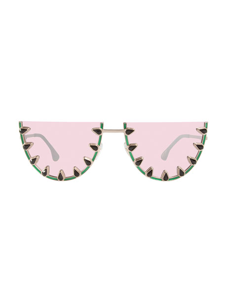Palm Canyon Flat-Top Watermelon Sunglasses, Green