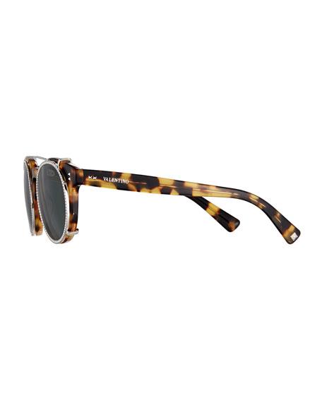 Round Crystal-Rim Sunglasses