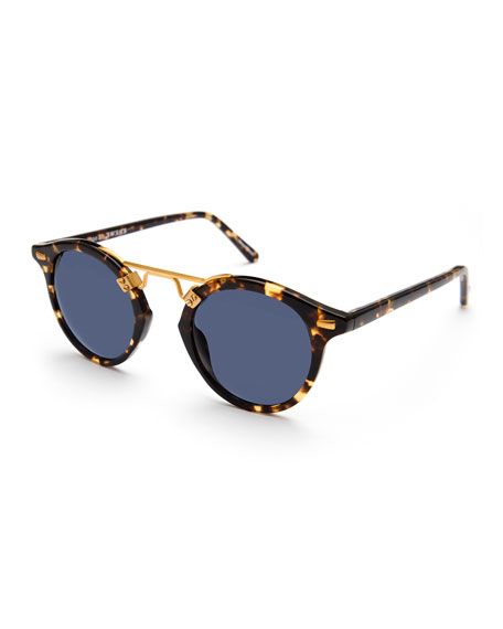 Image 1 of 1: St. Louis Round Polarized Sunglasses, Blue/Brown Tortoise