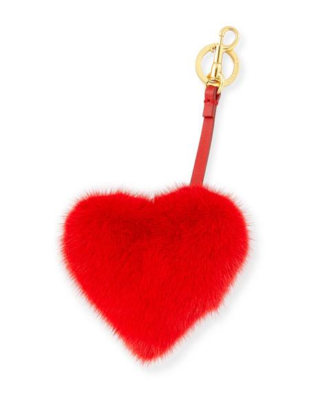 Tassel Heart Bag Charm In Mink Fur, Red