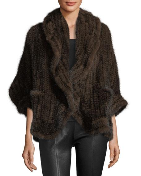 Knit Mink Fur Wrap w/ Pockets, Beige