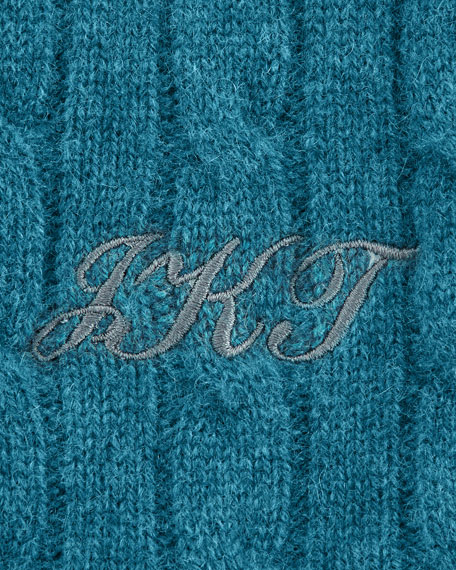 Cashmere Cable-Knit Travel Gift Set w/ Monogram