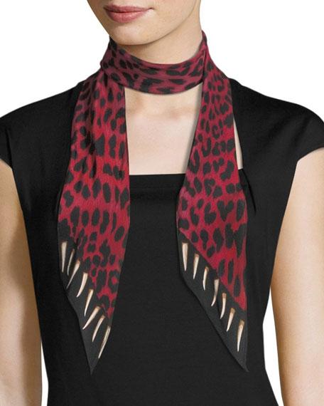 Leopard Teeth Super Skinny Silk Scarf, Pink