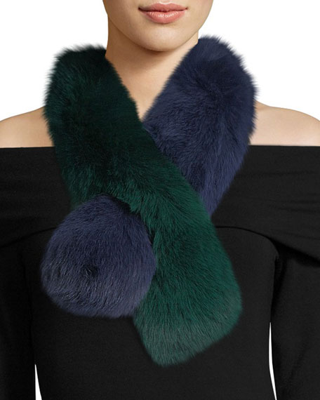 Polly Pop Two-Tone Fur Pull-Through Scarf, Blue/Green