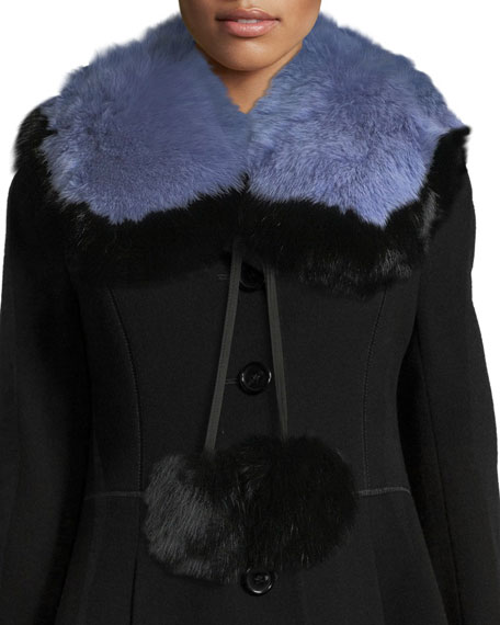 Puffalump Fur Neck Scarf w/ Pompoms, Blue/Black
