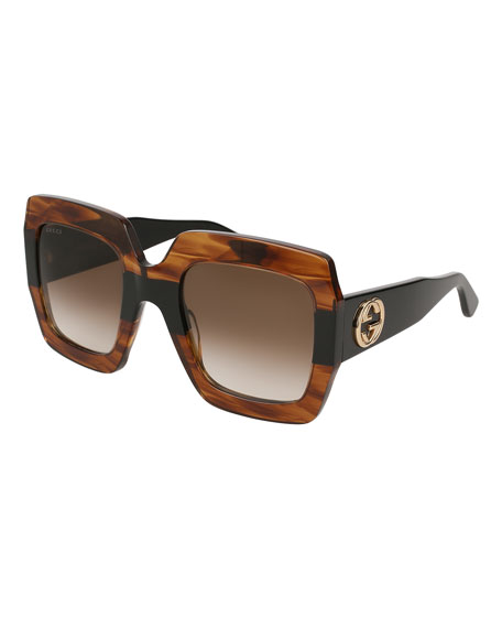 Image 1 of 1: Oversized Square Web GG Sunglasses