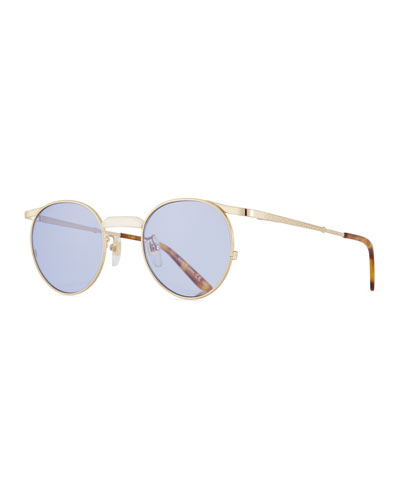 Coin-Edge Round Metal Sunglasses