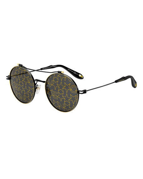 Logo & Star Printed Round Sunglasses