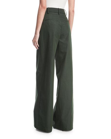 Wide-Leg Cotton Trousers