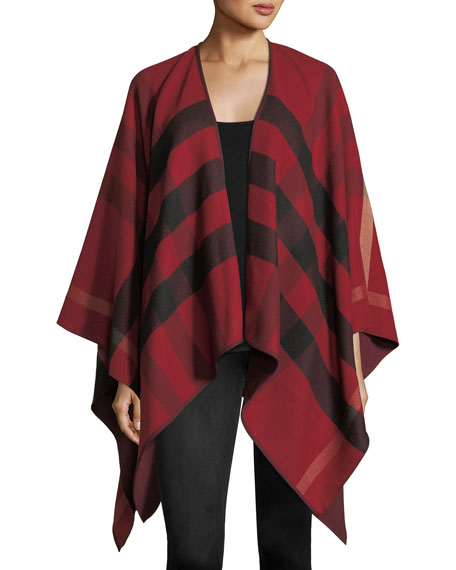 Burberry Charlotte Check-To-Solid Wool Cape, Red 0d3ffcfc8bb