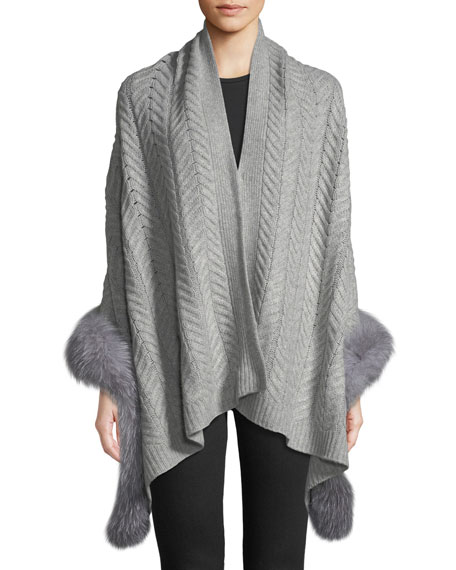 Cashmere Staghorn Chunky Knit Wrap w/ Fur Trim