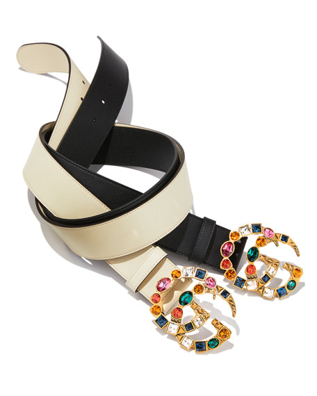 Leather Belt w/ Crystal GG Buckle