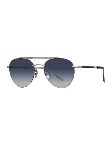 Platinum Plated Titanium Aviator Sunglasses w/ Acetate Trim, Silver