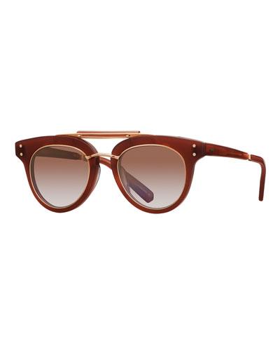 Gradient Acetate Cat-Eye Sunglasses  Red/Brown