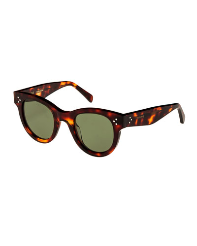 Studded Acetate Sunglasses w/ Mineral Lenses  Brown