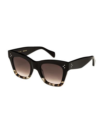 Two-Tone Gradient Cat-Eye Sunglasses  Black