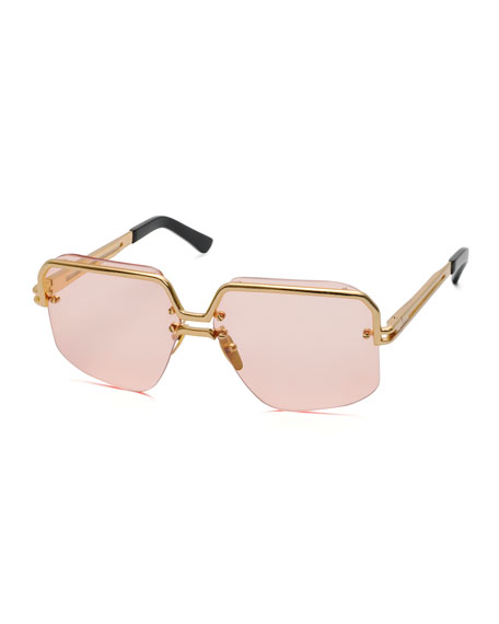 Celine Rectangle Semi-Rimless Metal Sunglasses