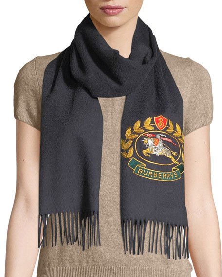 66ad23e4745f Burberry Vintage Crest Embroidered Cashmere Scarf