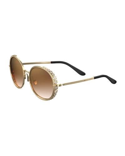 Round Crystal-Trim Sunglasses