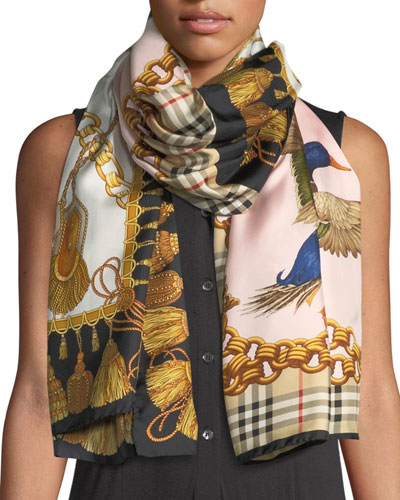 Archive & Chain Braid Print Silk Scarf