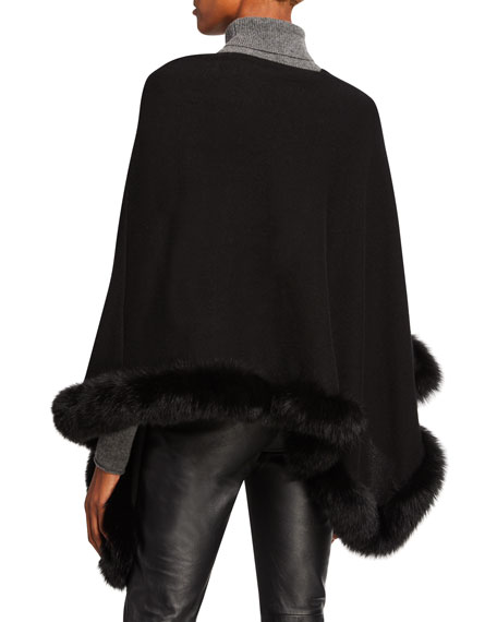 Off-the-Shoulder Cashmere Poncho with Fur Trim