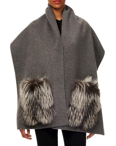 Wool Stole w/ Fur Patch Pockets