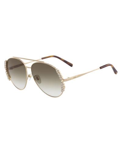 Metal Aviator Crystal-Trim Sunglasses w/ Leaf Motifs