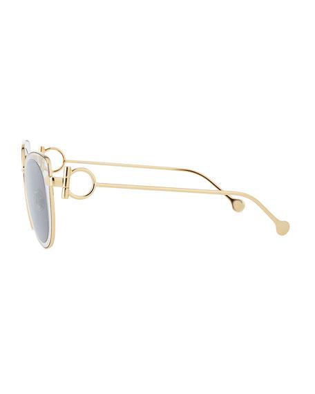 Gancio Cat-Eye Metal Sunglasses