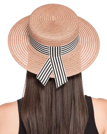 Brigitte Vented Hemp Boater Hat w/ Striped Hat Band