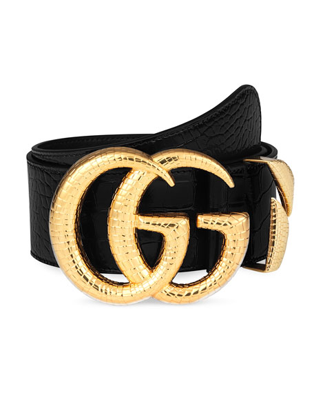 Image 1 of 1: Crocodile Belt w/ Double G Buckle