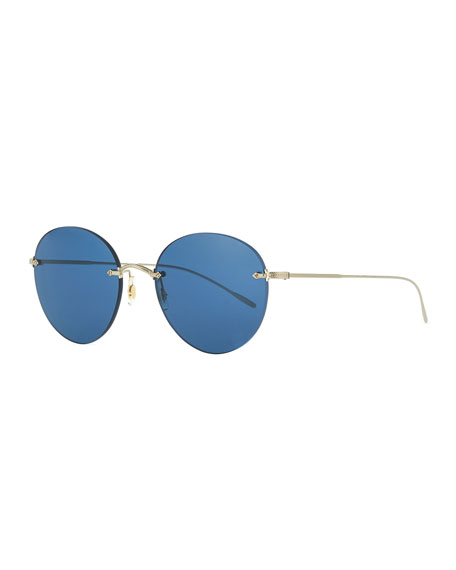 Image 1 of 1: Oval Rimless Metal Engraved Sunglasses