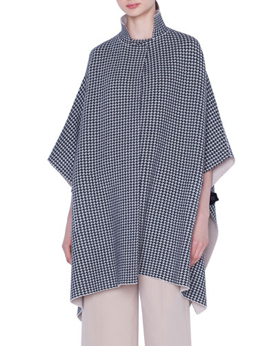 Reversible Cashmere Houndstooth-Jacquard Cape