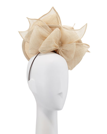 Structured Disc & Bows Natural Straw Hat