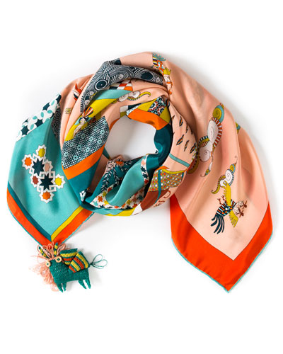 An Oriental Illusion Printed Small Silk Scarf